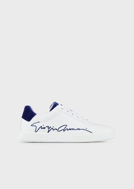 Leather sneakers with Giorgio Armani signature and chevron velvet details