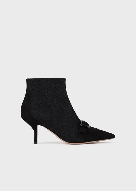 High-heeled ankle boots in wool and suede