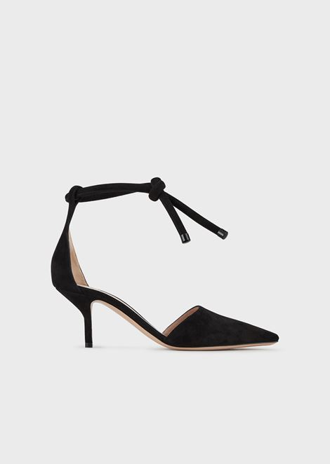 Suede court shoes with ankle strap