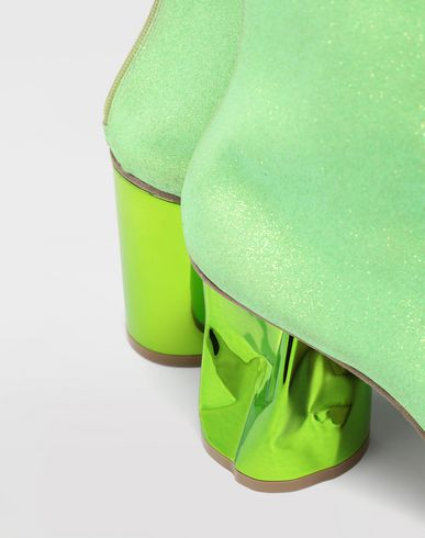 SHOES Glitter crushed heel ankle boots Acid green