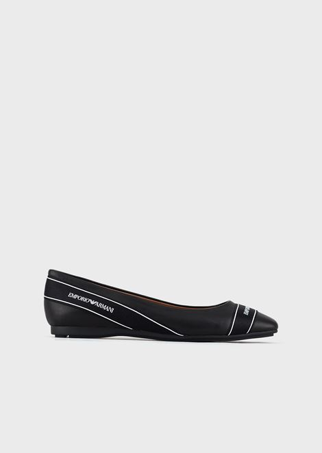 Nappa leather ballerinas with logo strap
