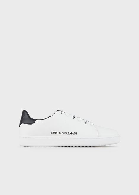 Leather sneakers with logoed laces