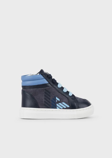 High-top leather sneakers with matching sole