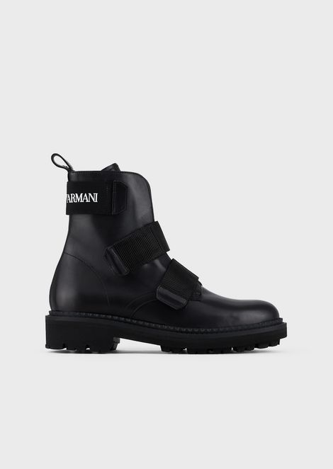 Leather ankle boots with Velcro strap and logo