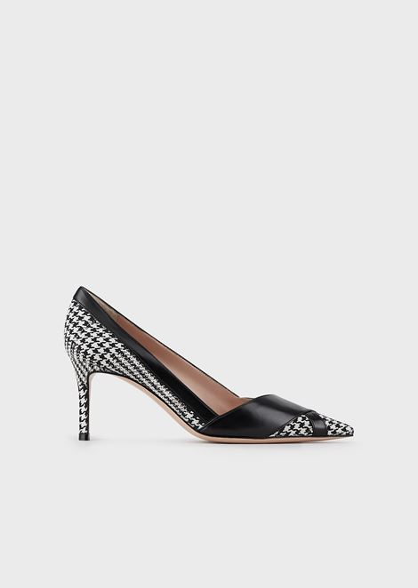 Houndstooth fabric court shoes with leather details