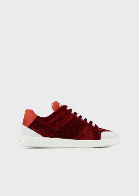 Leather and velvet sneakers with chevron design and suede details