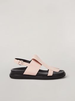 Marni Fringed fussbett in calfskin pink Woman