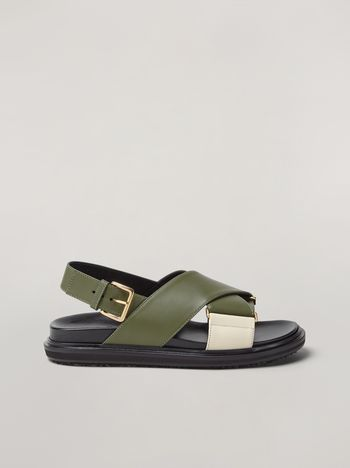 Marni Criss-cross fussbett in calfskin green and white Woman f