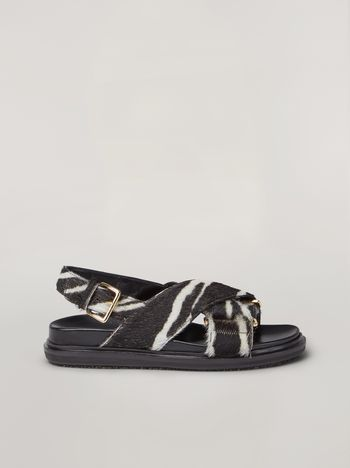 Marni Criss-cross fussbett in zebra-print pony calf Woman f