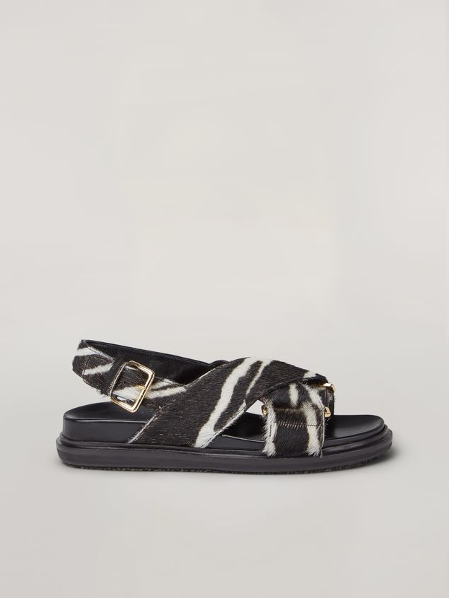 Marni Criss-cross fussbett in zebra-print pony calf Woman - 1