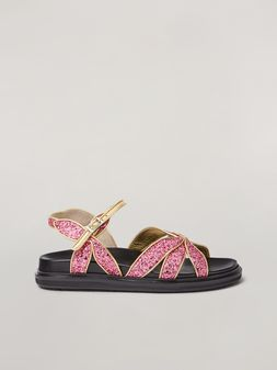 Marni Fussbett in glitter with petal-shaped upper and gold-tone edges Woman