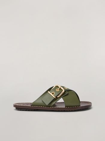 Marni Criss-cross sandal in smooth calf green Woman f