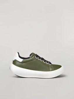 Marni BANANA Marni sneaker in leather green and white Woman