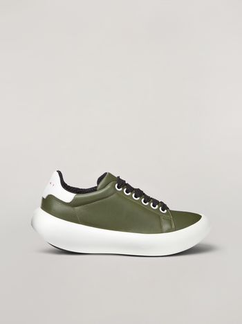 Marni BANANA Marni sneaker in leather green and white Woman f