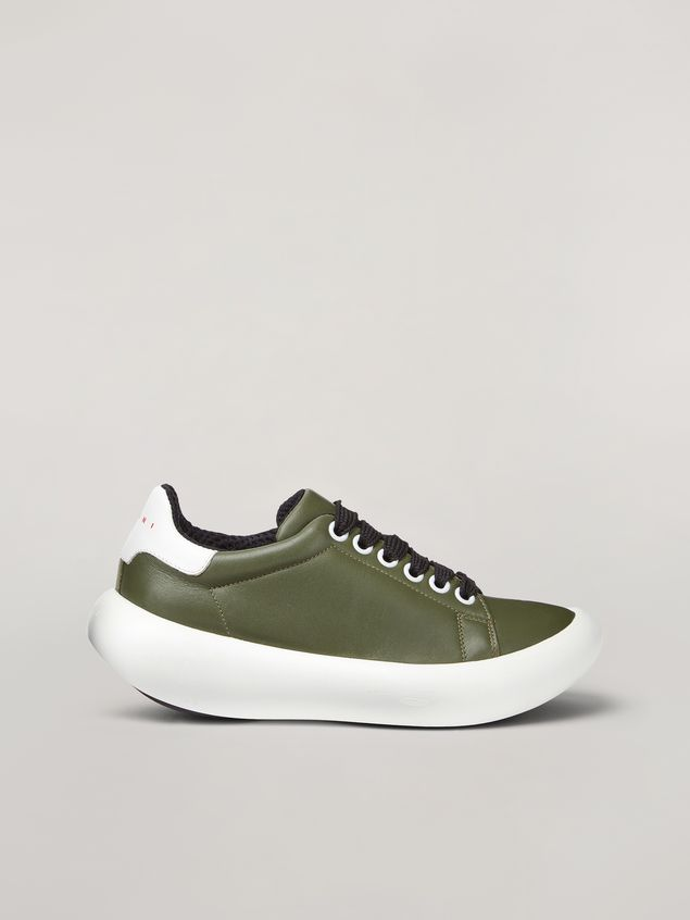 Marni BANANA Marni sneaker in leather green and white Woman - 1