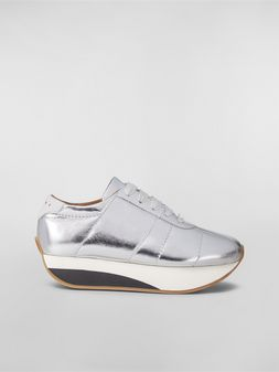 Marni BIGFOOT WANDERING IN STRIPES sneaker in laminated leather Woman