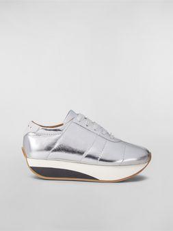Marni Sneakers BIGFOOT WANDERING IN STRIPES aus Metallic-Kalbsleder Damen