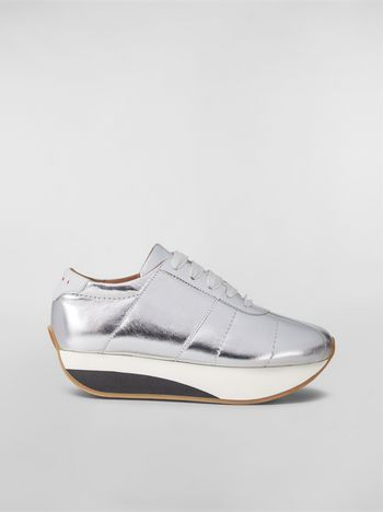 Marni BIGFOOT WANDERING IN STRIPES sneaker in laminated leather Woman f