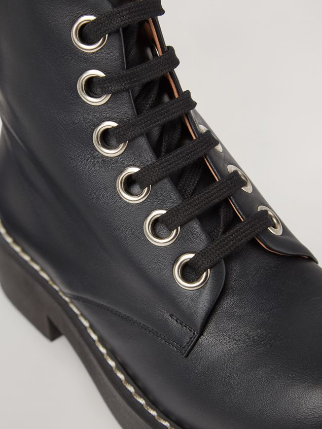 Marni Lace-up ankle boot in smooth calf black Woman - 5