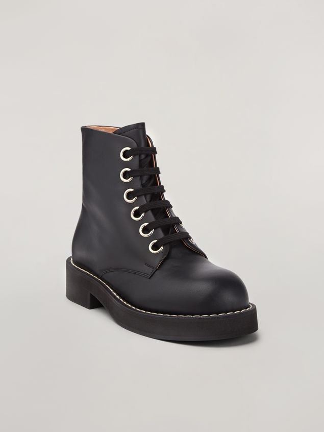 Marni Lace-up ankle boot in smooth calf black Woman - 2