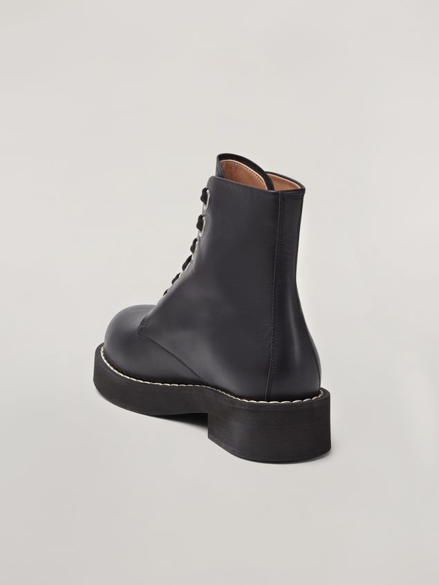 Marni Lace-up ankle boot in smooth calf black Woman - 3