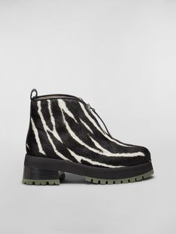 Marni WANDERING IN STRIPES zipper bootie in calf leather hair effect Woman