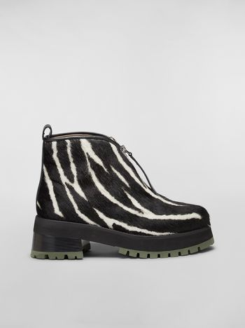 Marni WANDERING IN STRIPES zip bootie in calf leather hair effect Woman f