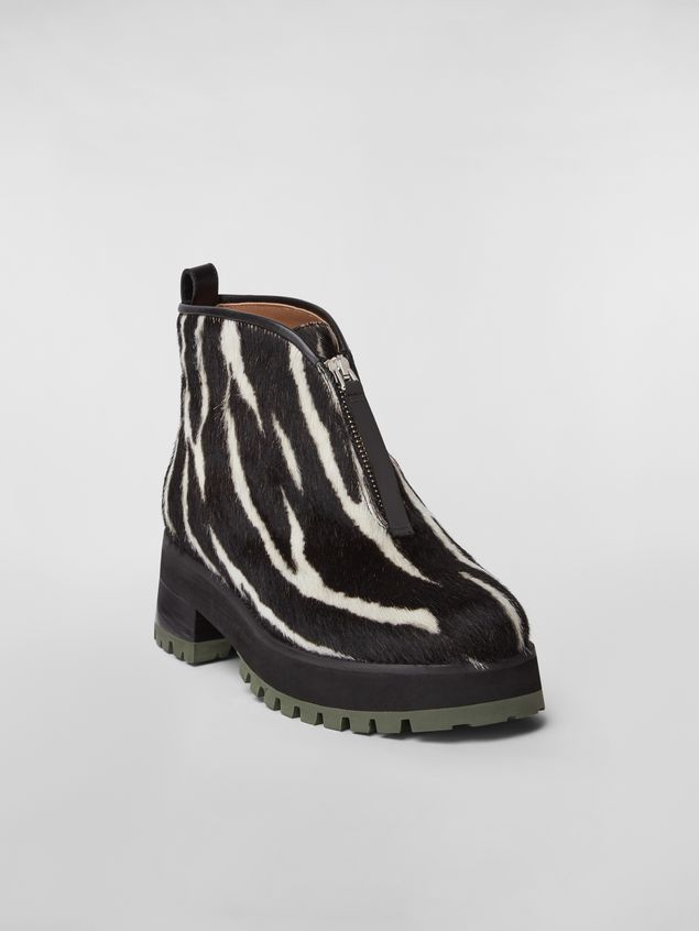 Marni WANDERING IN STRIPES zip bootie in calf leather hair effect Woman - 2