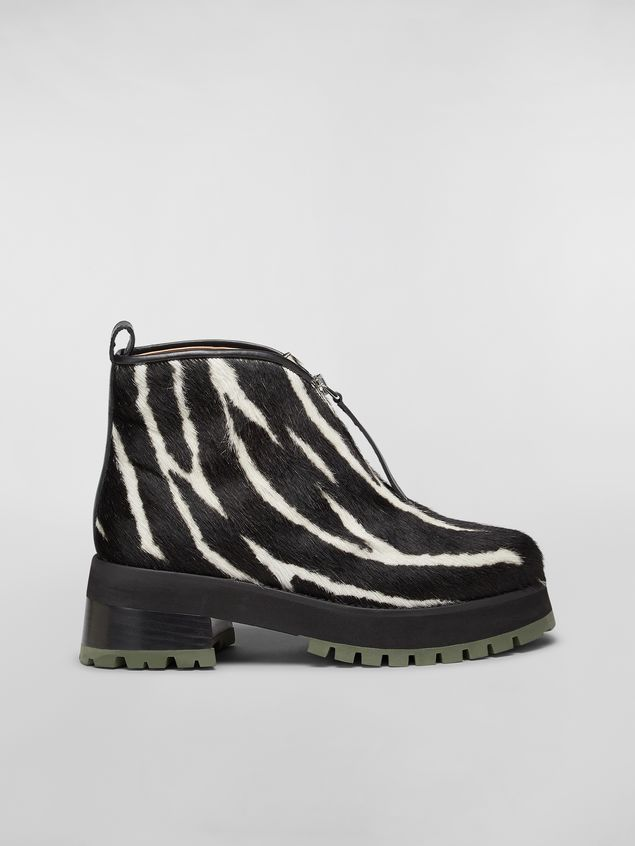 Marni WANDERING IN STRIPES zip bootie in calf leather hair effect Woman - 1