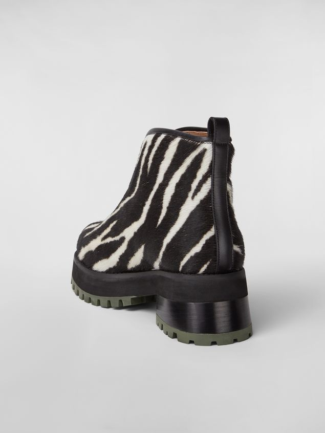 Marni WANDERING IN STRIPES zip bootie in calf leather hair effect Woman - 3