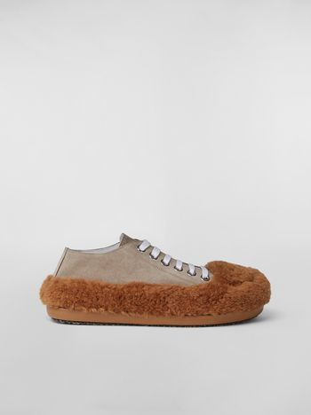 Marni CHINESE NEW YEAR 2020 Lace-up  in bi-coloured shearling Woman f