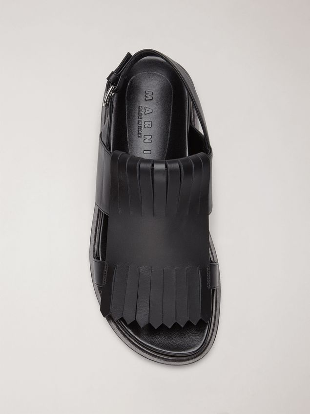 Marni Fringed fussbett in calfskin black Woman - 4