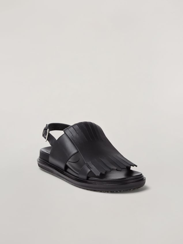 Marni Fringed fussbett in calfskin black Woman - 2