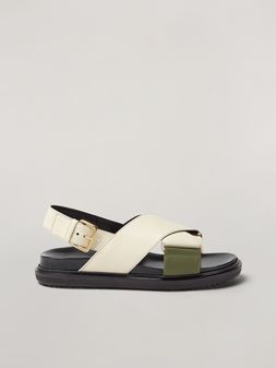 Marni Criss-cross fussbett in calfskin white and green Woman