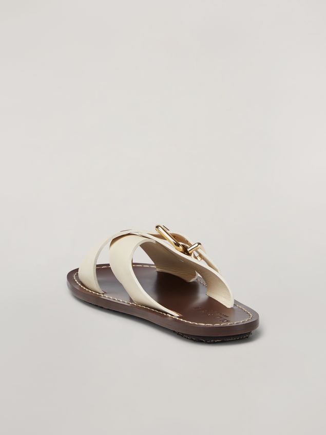 Marni Criss-cross sandal in smooth calf white Woman