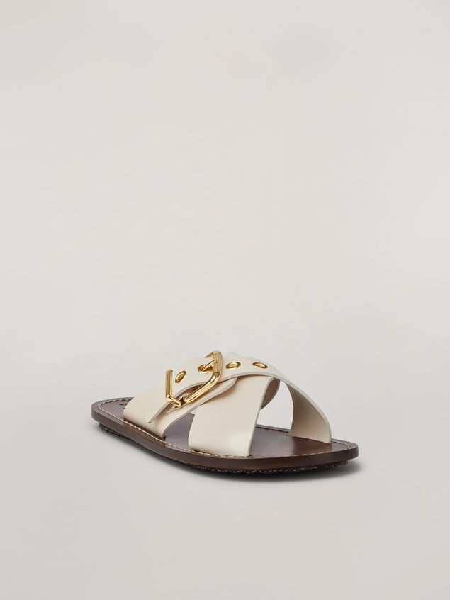 Marni Criss-cross sandal in smooth calf white Woman - 2