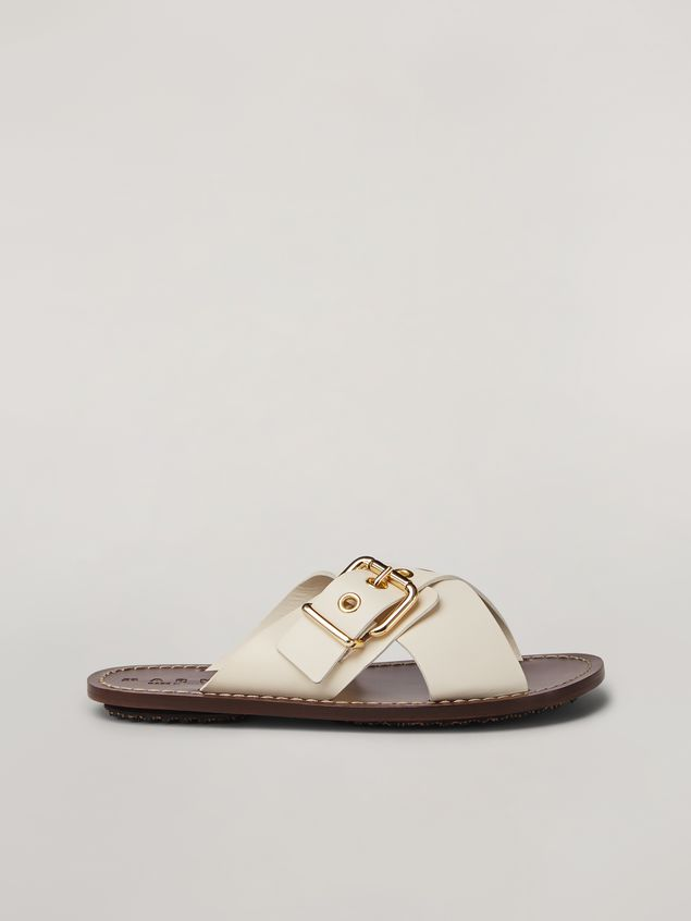Marni Criss-cross sandal in smooth calf white Woman - 1
