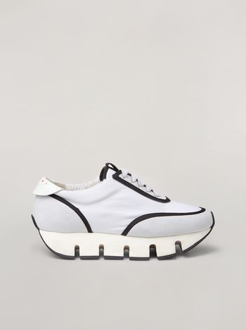Marni BIG CUT Marni sneaker in scuba fabric white and black Woman f