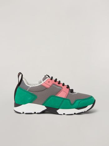 Marni Sneaker in techno fabric pink grey and green Woman f