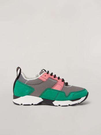 Marni Sneaker Marni in tessuto tecnico rosa grigio e verde Donna f