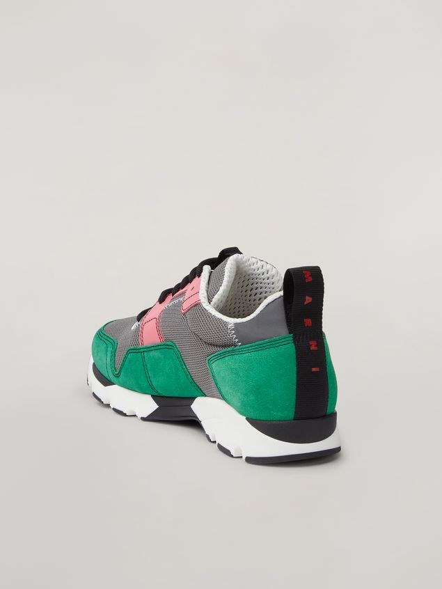 Marni Sneaker in techno fabric pink grey and green Woman