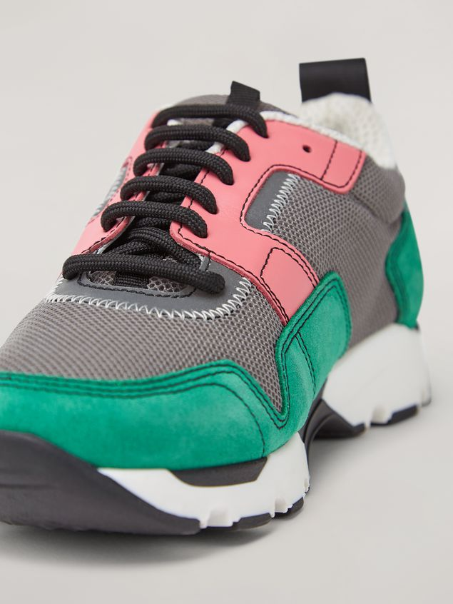 MARNI Sneakers Woman Sneaker in techno fabric pink grey and green a