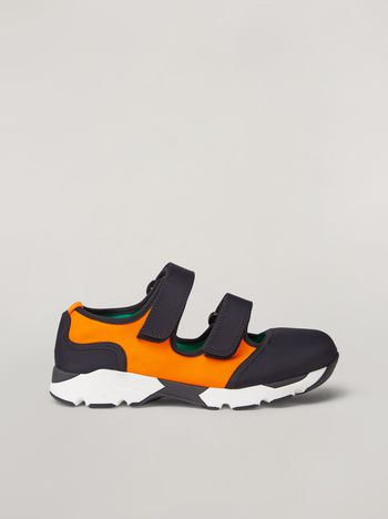 Marni Strap sneaker in techno fabric black and orange Woman f