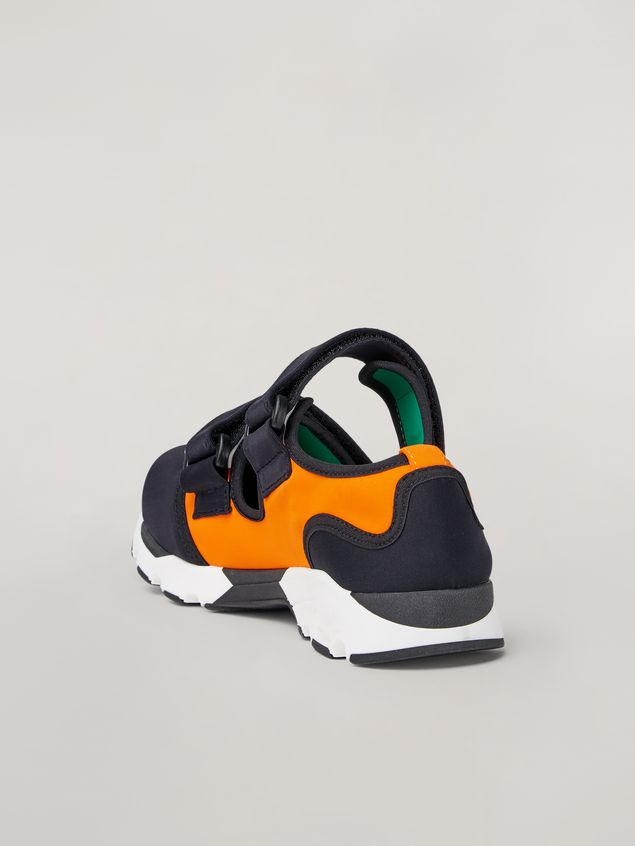 Marni Strap sneaker in techno fabric black and orange Woman