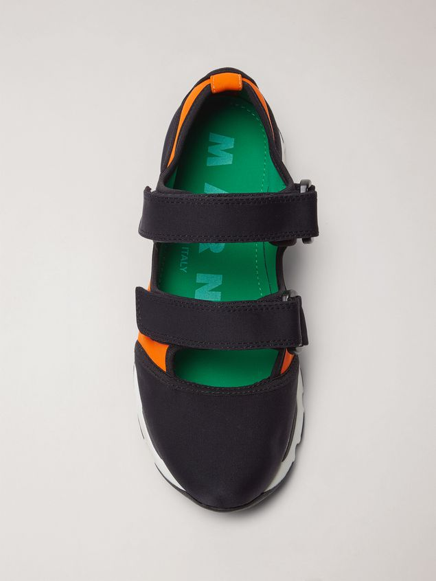 Marni Strap sneaker in techno fabric black and orange Woman - 4