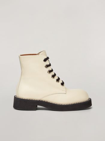 Marni Lace-up ankle boot in smooth calf white Woman f