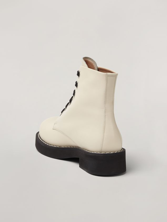 Marni Lace-up ankle boot in smooth calf white Woman - 3