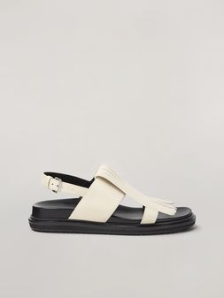 Marni Fringed fussbett in calfskin white Woman
