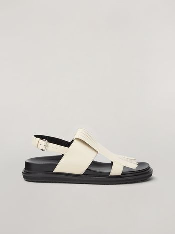 Marni Fringed fussbett in calfskin white Woman f