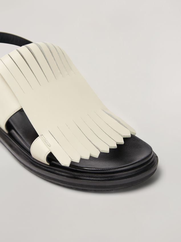 Marni Fringed fussbett in calfskin white Woman - 5